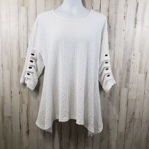 Yushi Womens Top White Stretch Textured 3/4 Sleeve